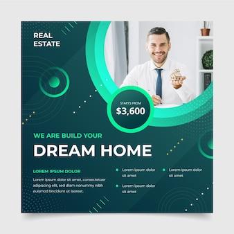 Geometrischer immobilien-facebook-beitrag des flachen designs