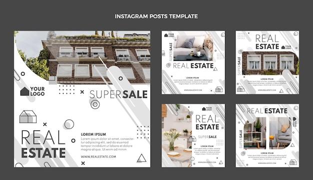 Geometrischer immobilien-instagram-post des flachen designs