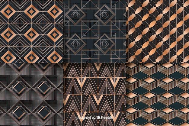 Geometrischer luxusmustersatz