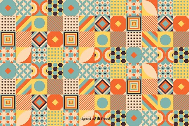 Geometrischer mosaikhintergrund der bunten weinlese