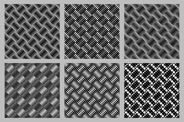 Geometrischer nahtloser gerundeter quadratischer musterhintergrund-designsatz