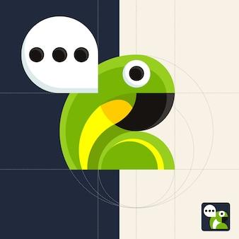 Geometrischer papagei des chat-symbols mit sprechblase. vollfarbige illustration für mobile app.
