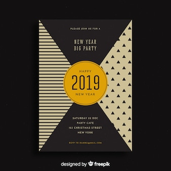 Geometrischer partyflieger des neuen jahres 2019