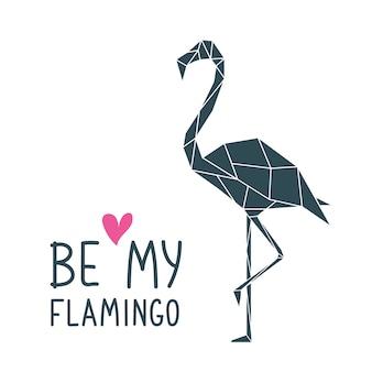 Geometrischer polygonaler flamingo-druck.