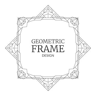 Geometrischer rahmen mit diamanten retro-linie art-deco-geometriemuster trendige grenze mit edelsteinen