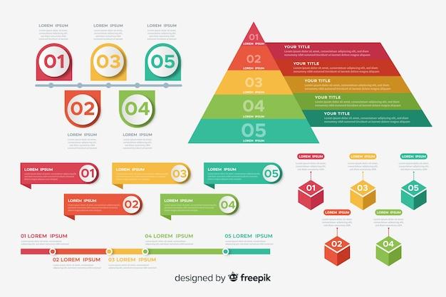 Geometrischer satz der infographic elementschablone
