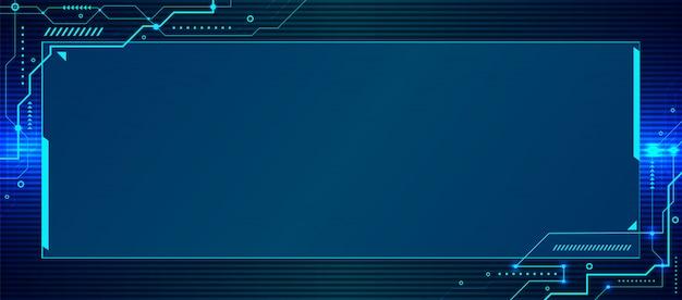 Geometrischer schaltungshintergrund der abstrakten blauen technologie der bannerwebschablone