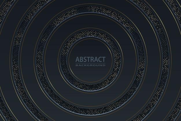Geometrischer schwarzer luxushintergrund mit goldelementen