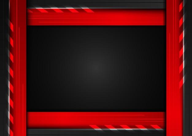 Geometrischer schwarzer und roter rahmen des abstrakten technologiekonzepts mit beleuchtung auf dunklem hintergrund.