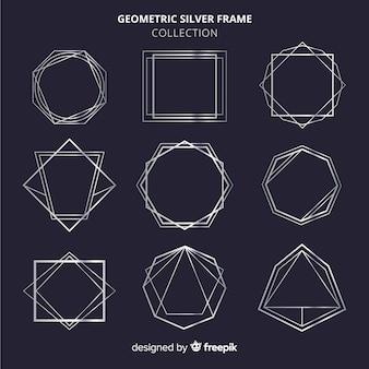 Geometrischer silberner rahmensatz