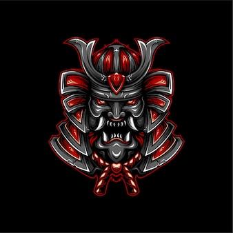 Geometrischer stil der samurai-illustration