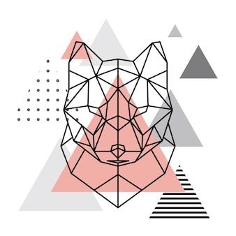 Geometrischer wolfskopf auf skandinavischem hintergrund