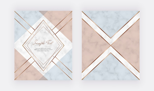 Geometrisches abdeckungsdesign mit dreieckigen formen der rosa, blauen kupferfolie und goldenen linien auf der marmorbeschaffenheit.