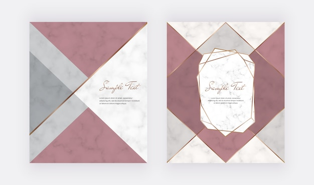 Geometrisches abdeckungsdesign mit rosa, grauen dreieckigen formen und goldenen linien auf der marmorstruktur.