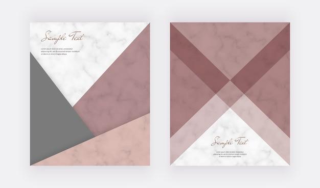Geometrisches abdeckungsdesign mit rosa, roségoldenen dreiecksformen und goldenen linien auf der marmorstruktur.