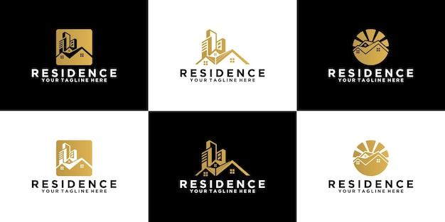 Geometrisches abstraktes design der logosammlung städtischer wohnsitz