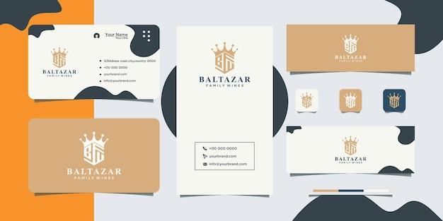 Geometrisches abstraktes logodesign und visitenkarte des königlichen königs