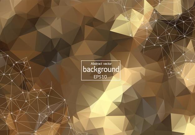 Geometrisches brown polygonales hintergrundmolekül und kommunikation. verbundene linien mit punkten. minimalismus-hintergrund. konzept der wissenschaft, chemie, biologie, medizin, technologie.