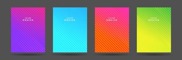 Geometrisches buch oder jahresbericht decken flyer-design-set ab. moderner geometrischer musterhintergrund