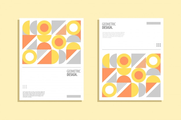 Geometrisches cover-design im bauhaus-stil