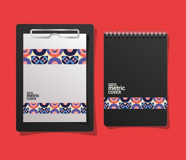 Geometrisches cover-notizbuch und zwischenablage