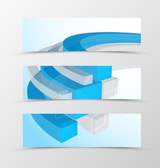 Geometrisches design des kopfbanner-satzes mit blauen und grauen 3d-linien im technologischen stil.