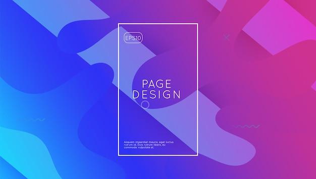 Geometrisches design. lebendige seite. digitaler hintergrund. coole landingpage. geschäftseinladung. flüssiges tagebuch. 3d abstrakte form. lila grafik-layout. lila geometrisches design