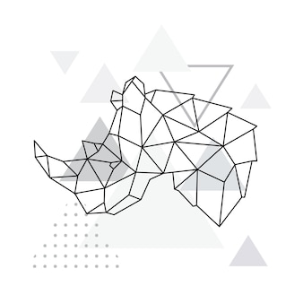 Geometrisches emblem des nashorns