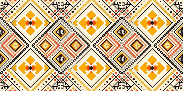 Geometrisches ethnisches muster nahtlos. design für hintergrund, teppich, tapete, kleidung, verpackung, batik, stoff, vektorillustration. stickerei-stil. Premium Vektoren