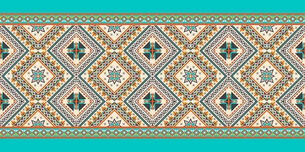 Geometrisches ethnisches muster nahtlos. design für hintergrund, teppich, tapete, kleidung, verpackung, batik, stoff, vektorillustration. stickerei-stil.