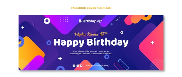 Geometrisches facebook-cover zum geburtstag mit farbverlauf