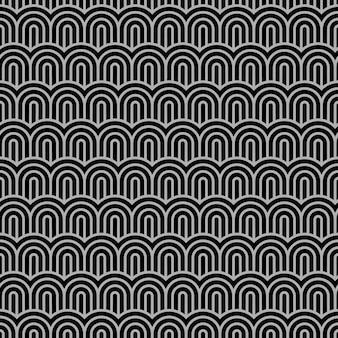 Geometrisches gestreiftes nahtloses muster mit stilisierten wellen