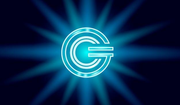 Geometrisches glühendes symbol der globalen kryptowährung gcc-münze