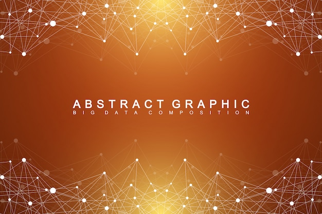 Geometrisches grafisches hintergrundmolekül und kommunikation. big-data-komplex mit verbindungen. digitale datenvisualisierung. wissenschaftliche kybernetische illustration.