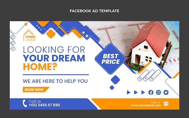 Geometrisches immobilien-facebook des flachen designs