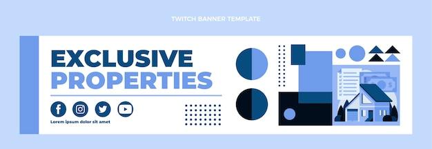Geometrisches immobilien-twitch-banner des flachen designs
