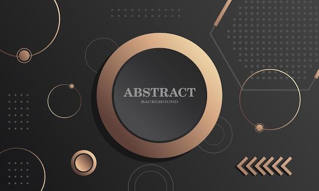 Geometrisches kompositionsdesign mit schwarzem hintergrund in kreisform mit goldenen elementen