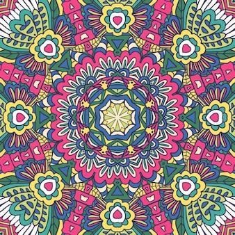 Geometrisches medaillon mit floralen retro-ornamenten