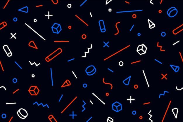 Geometrisches memphis-muster. nahtloses grafikmuster 80er-90er-jahre-trendstile