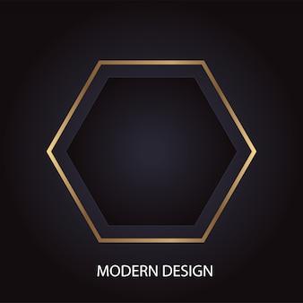 Geometrisches modernes abstraktes luxusdesign mit goldenem sechseck auf schwarzem hintergrund