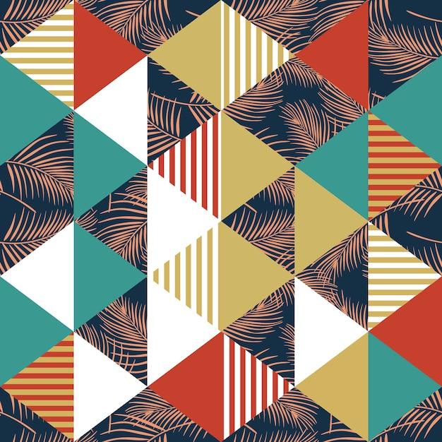Geometrisches modisches nahtloses muster mit palmblättern