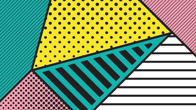 Geometrisches muster der pop-art gegenübergestellt mit hellen fetten blöcken materialdesignhintergrund