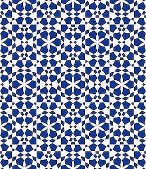 Geometrisches nahtloses muster basierend auf traditionellen islamischen ornamenten blaue farben