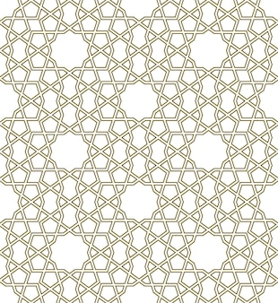Geometrisches nahtloses muster basierend auf traditionellen islamischen ornamenten konturierte linien