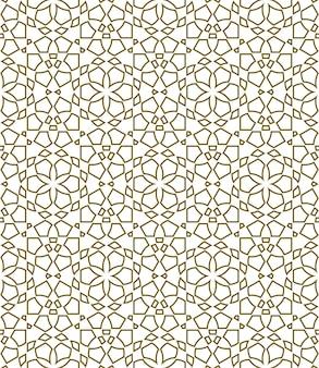 Geometrisches nahtloses muster basierend auf traditionellen islamischen ornamentformen mit konturen