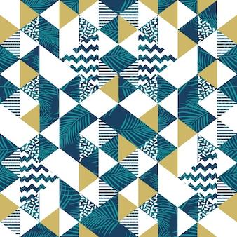 Geometrisches nahtloses muster des dreiecks mit kokosnussblättern
