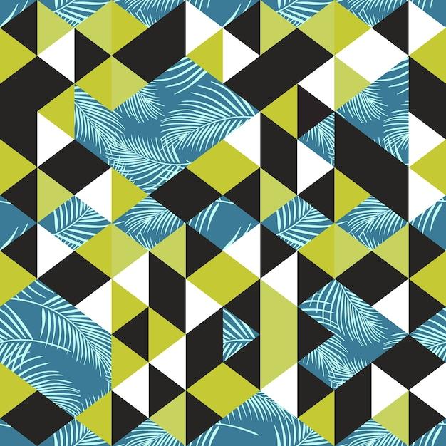 Geometrisches nahtloses muster des dreiecks mit palmblättern