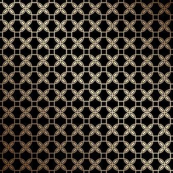 Geometrisches nahtloses muster in schwarz und gold mit stilisierten blumen im art-deco-stil
