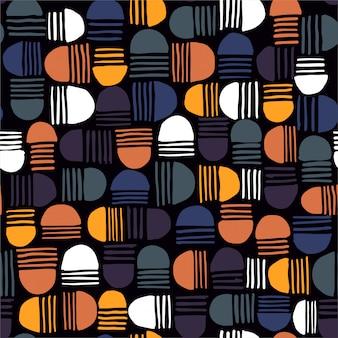 Geometrisches nahtloses muster mit halbkreisen und gestreifte hand gezeichneten elementen.
