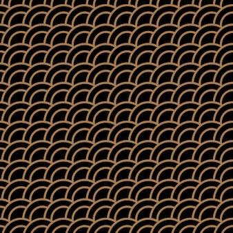 Geometrisches nahtloses muster mit stilisierten wellen